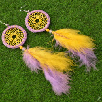 Dreamcatcher Earrings, Yellow and Violet Feather Earrings, Dangle Earrings, With Jade gemstone