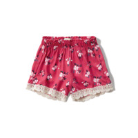 floral lace trim drapey shorts
