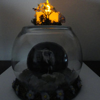 Blue Heron Centerpiece...Blue Heron Tealight Centerpiece..Nature Under Glass