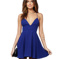 Spaghetti Strap Deep V-Neck Cross Cutout Back Pleated Swing Dress