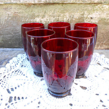 SET OF 6 ~ 1930's Ruby Red Depression Glassware ~ Anchor Hocking ~ Holiday Dinnerware