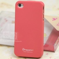 Happymori Slim Fit Silicon Case for Apple Iphone 4 - Peach Pink with Free Screen Protector and Clea