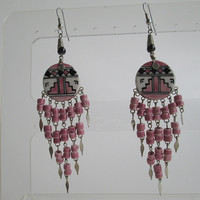 Pink Rose Ceramic Aztec Dangle Earrings Shoulder Dusters Tribal Style Jewelry