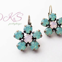 Swarovski, Flower Lever Back Drop Earrings, Green, Pink, Antique Silver, Pretty,DKSJewelrydesigns, FREE SHIPPING