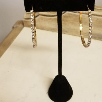 "2"" Gold CZ Crystal Clear Stone Hoop Earrings"