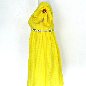 1960s Mini Dress / 60s dress / beach wedding dress / yellow party dress / babydoll dress / Small