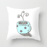 Cozy cup of coffee Throw Pillow by The Nested Turtle