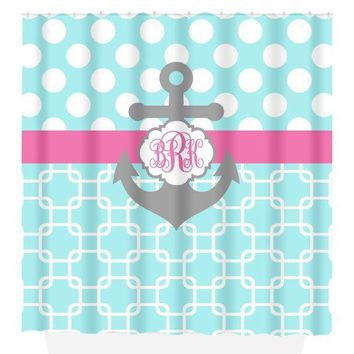 ANCHOR SHOWER CURTAIN, Aqua Pink Gray Polka Dot, Chain Link, Custom Monogram Personalized, Nautical Bath Decor, Bath Towel,  Bath Mat