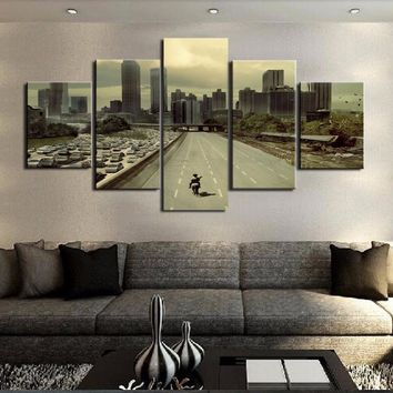 Walking Dead Movie Highway City Wall Art 5 Panel Canvas Print Poster Framed UNfr