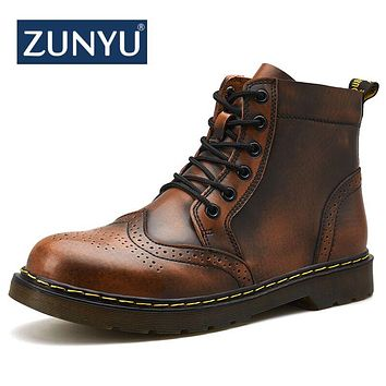 ZUNYU 2018 New Genuine leather Men Boots Spring Autumn And Winter Man Shoes Ankle Boot Men's Snow Shoes Work Plus Size 38-47