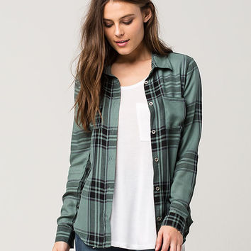 FULL TILT Forest Green Womens Plaid Shirt | Shirts + Flannels
