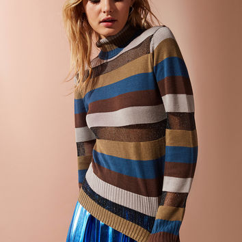 UO Kassi Striped Turtleneck Sweater | Urban Outfitters