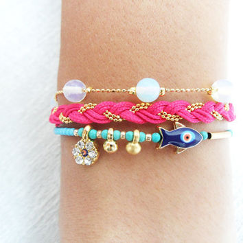 Evil eye bracelet pink blue white fish ethnic ottoman arabic islamic turkish bracelet jewelry best friend birthday women istanbul