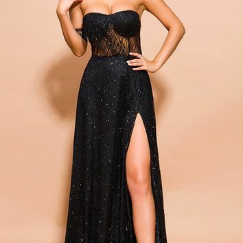 Evening To Remember Black Glitter Sheer Mesh Off The Shoulder High Slit Maxi Dress