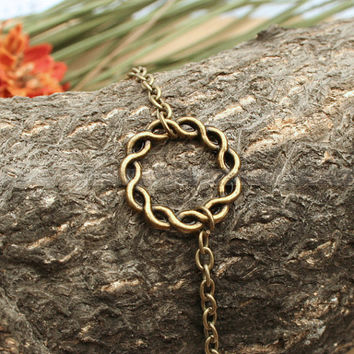 Antique bronze infinity karma bracelet friendship karma by mosnos