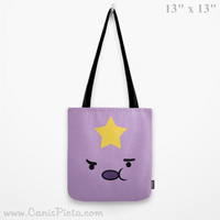 Adventure Time Lumpy Space Princess LSP Tote Bag Television Show 13x13 Graphic Print TV Pop Culture Humor Star Purple Lavender Gift Him Her