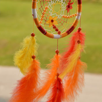 Red Orange Yellow Dreamcatcher with carnelian gemstone, plastic beads and flowers, wall hanging, wall decor, nursery decor