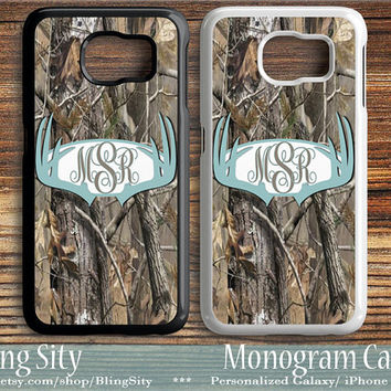 Monogram Galaxy S6 Edge case Blue Antlers Tree Camo Deer Personalized Samsung S3 S4 S5 Note 2 3 4 Custom Tough Cover Country Hunting Girl