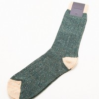 Etiquette Tweed Rib Socks in Green/Orange - MOHAWK MAN