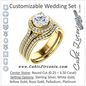 CZ Wedding Set, featuring The Mia Sofia engagement ring (Customizable Cathedral-Halo Round Cut Style with Wide Split-Pavé Band)