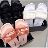 Puma Rihanna Leadcat Fent Fashion Women Men Cute Fur Sandal Slipper Shoes(7-Color) I