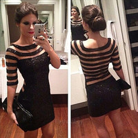 New Women Sexy Sequins Bodycon Slim Cocktail Clubwear Evening Party Mini Dress F_B = 5616982209