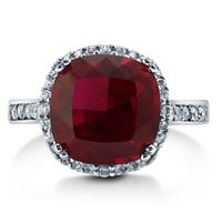 925 Sterling Silver Cushion Ruby CZ  Cocktail Ring by MyMetalRocks