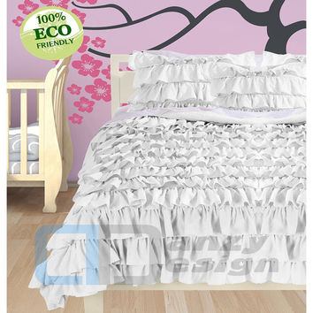 Egyptian Cotton White Ruffle Duvet Cover Set