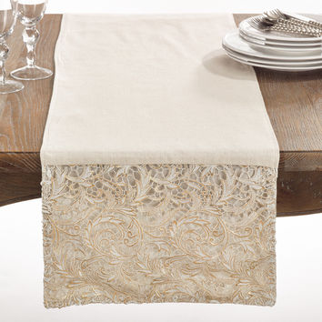La Rochelle Collection Cotton Lace Design Table Runner | Overstock.com Shopping - The Best Deals on Table Runners