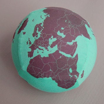 Exercise ball cover map globe design in turquoise and black