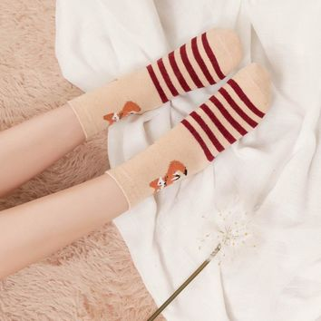 Fox Animals Stripes Socks Funny Crazy Cool Novelty Cute Fun Funky Colorful