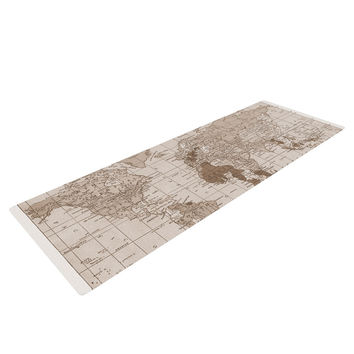 "Catherine Holcombe ""Emerald World"" Vintage Map Yoga Mat"