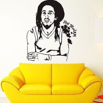 Wall Sticker Bob Marley Reggae Music Weed Rastafarian Vinyl Decal Unique Gift (ig1202)