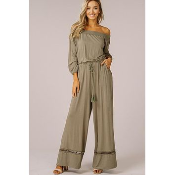 Off Shoulder Jumpsuit - Olive
