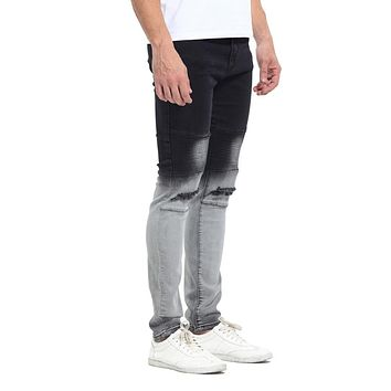 2017 Newest Fashion Tie-Dye Hole Destroyed Mens Slim Denim Straight Biker Skinny Jeans Men Ripped Jeans 514