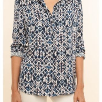 Splendid Ikat Printed Button Down Shirt | Navy Multi | SALE