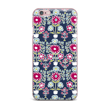 "Laura Nicholson ""Turkish Vase"" Navy Magenta iPhone Case"