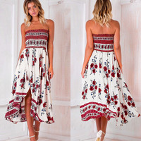 Summer women sexy loose wrapped chest printed [10425668487]