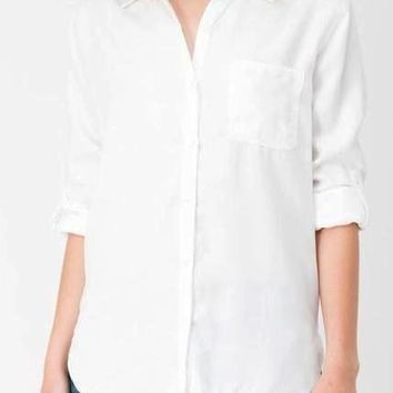 Maggie Tencel Button Up In White