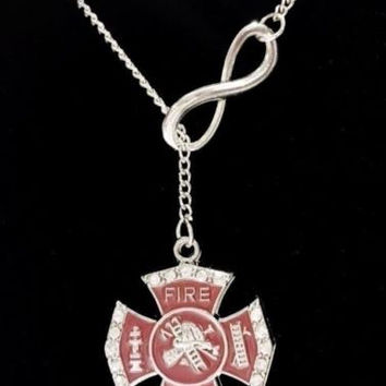 Maltese Cross Love My Fireman Firefighters Wife Girl Fire Lariat Necklace