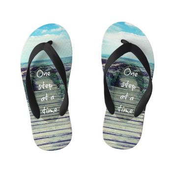 Cool Beach with Step Quote Kid's Flip Flops