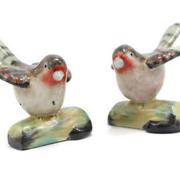 Cute Set of Two Porcelain Birds on Branch Red and Black Feathers