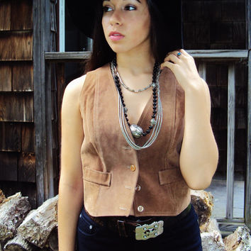vtg 70s VEST Western Suede UNISEX Small,  Rocker Chic,  Tiny Fit leather Vest, biker vest, cropped hipster festival  // S small
