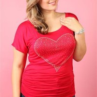 plus size red short sleeve top with rhinestone heart - debshops.com