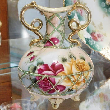 1800s Nippon Vase Antique Nippon Footed Vase Victorian Art Nouveau Hand Painted Porcelain Roses Double Handled Fancy Scroll Beaded Enamel