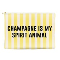 Champagne Is My Spirit Animal - Striped Pouch (more colors)