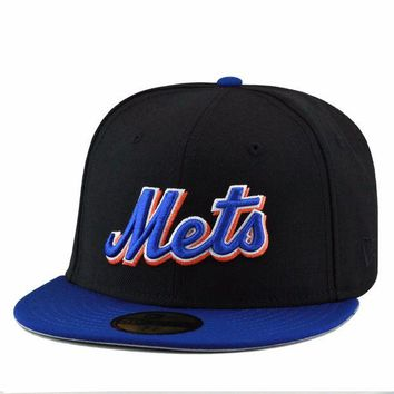 ONETOW New Era New York Mets Fitted Hat Black/Royal/Royal 'Mets'