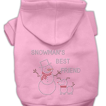 Snowman's Best Friend Rhinestone Dog Hoodie Pink/Small