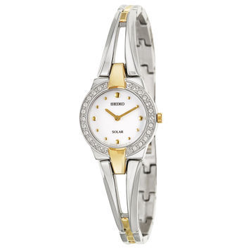 Seiko Women's 'Solar' Stainless Steel/ Yellow-goldplated Solar Powered Quartz Watch