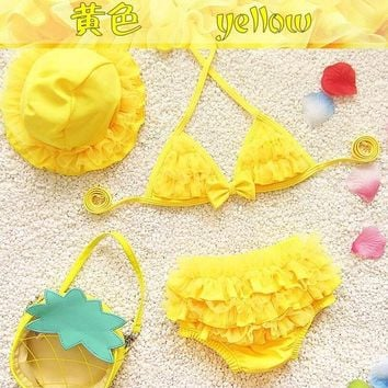 2017 baby bikini swimsuit baby girl lovely three-piece small children's swimwear lace baby bikini cute